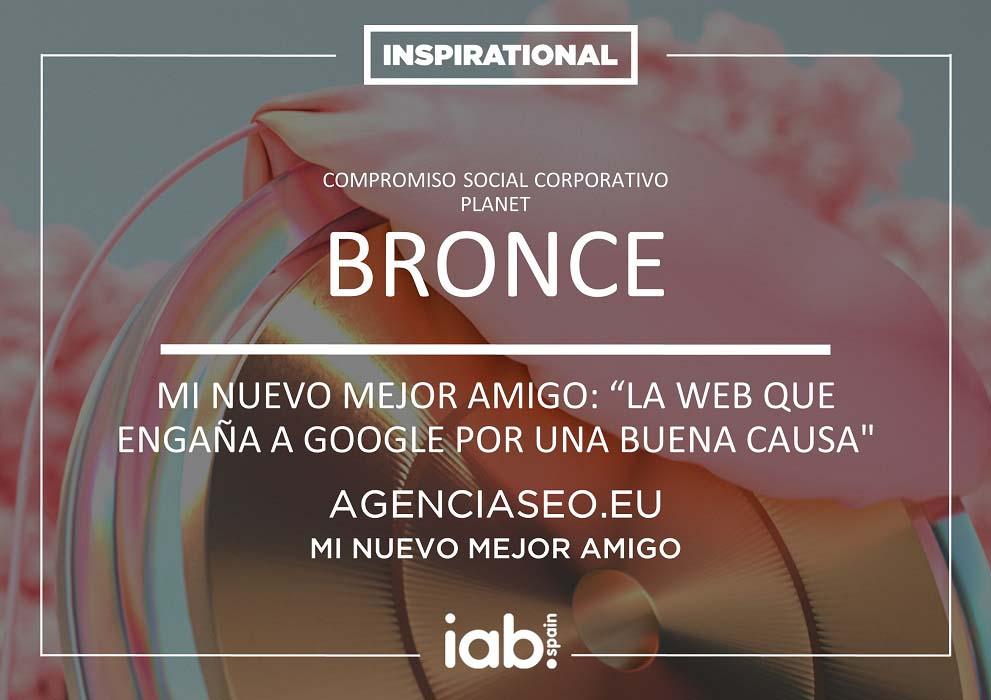 diploma bronce premio inspirational iab minuevomejoramigo - Cómo hemos conseguido que nuestro proyecto solidario llegue al mundo